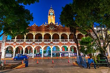 Olimpo Culture Center at night, Merida, Yucatan, Mexico, North America