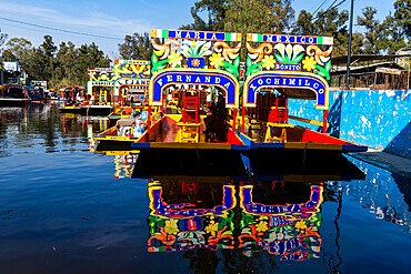 Colourful boats on the Aztec canal system, UNESCO World Heritage Site, Xochimilco, Mexico City, Mexico, North America