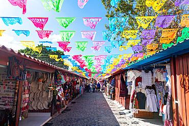 Souvenir stalls, San Pablo Villa de Mitla, Oaxaca, Mexico, North America