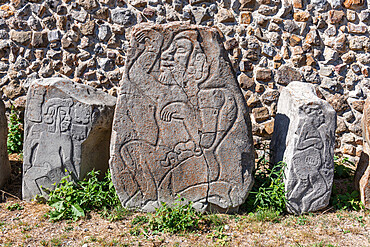 Stone carvings, Unesco world heritage site Monte Alban, Oaxaca, Mexico