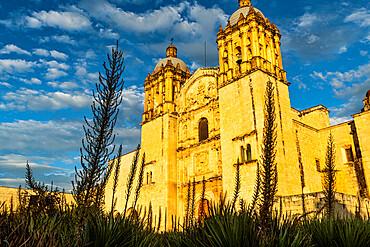 Church of Santo Domingo de Guzman at sunset, Oaxaca, Mexico, North America
