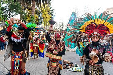Tzotzil dancers performing for tourists, San Cristobal de la Casas, Chiapas, Mexico, North America
