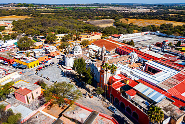 Aerial of the sanctuary Atotonilco pilgrim town, Guanajuato, Mexico