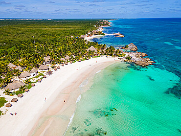 Aerial of Sian Ka'an Biosphere Reserve, UNESCO World Heritage Site, Quintana Roo, Mexico, North America
