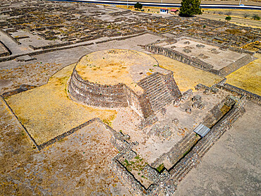 Aerial of the Mesoamerican archaeological site Tecoaque, Tlaxcala, Mexico
