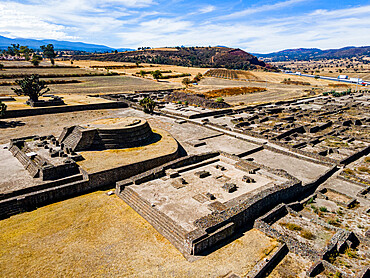 Aerial of the Mesoamerican archaeological site of Tecoaque, Tlaxcala, Mexico, North America