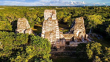 Aerial of the Maya ruins of Xpujil, Campeche, Mexico, North America