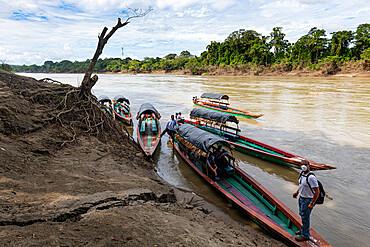 Little boats on the Usumacinta River, Chiapas, Mexico, North America
