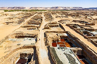 Aerial of the Salinas and their colourful salt pools, Bilma, Tenere desert, Niger