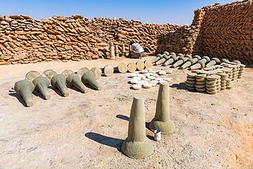 Salt formed into cylinders, salt mines of Bilma, Tenere desert, Niger, West Africa, Africa