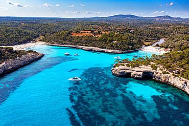 Aerial of Parc natural de Mondrago, Mallorca, Balearic islands, Spain