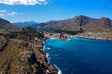 Aerial of Cala Sant Vicenc, Mallorca, Balearic islands, Spain