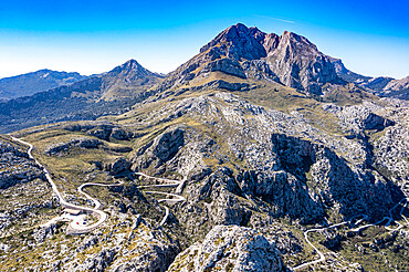 Aerial of the rocky Tramuntana mountains, Unesco site, Mallorca, Balearic islands, Spain