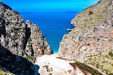 Aerial of Torrent de Pareis, Sa Calobra, Mallorca, Balearic islands, Spain