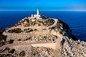 Aerial of the lighthouse at the Cap de Formentor, Mallorca, Balearic Islands, Spain, Mediterranean, Europe