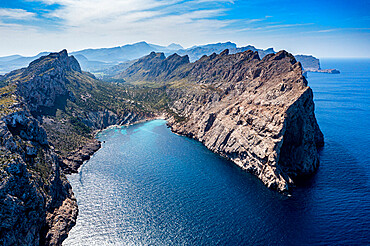 Aerial of the Cap de Formentor, Mallorca, Balearic Islands, Spain, Mediterranean, Europe