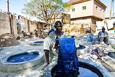 Man dyeing clothes with Indigo, Dyeing pits, Kano, Kano state, Nigeria, West Africa, Africa