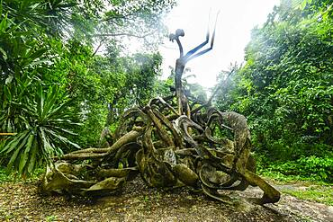 Voodoo sculptures in the Osun-Osogbo Sacred Grove, UNESCO World Heritage Site, Osun State, Nigeria, West Africa, Africa