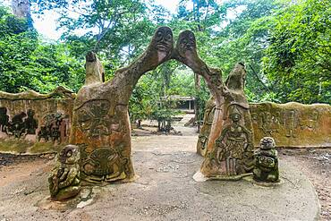 Sacred house in the Osun-Osogbo Sacred Grove, UNESCO World Heritage Site, Osun State, Nigeria, West Africa, Africa