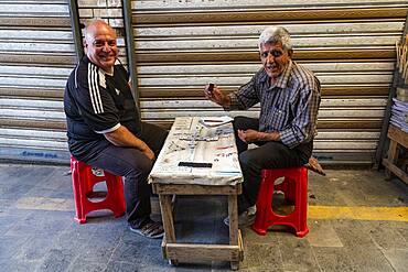 Domino players, Bazaar, Baghdad, Iraq, Middle East