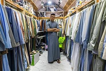 Man in his clothes shop, Ezekiel's Tomb, Al Kifl, Kerbala, Iraq, Middle East - 1184-5745