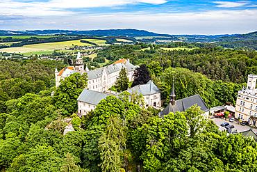 Aerial of Hruba Skala castle, Bohemian paradise, Czech Republic