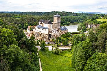Aerial of Kost castle, Bohemian paradise, Czech Republic