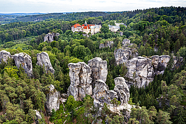 Aerial of Rock town Hruba Skala with the castle in the background, Bohemian paradise, Czech Republic