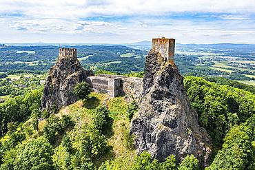 Aerial of Trosky castle, Bohemian paradise, Czech Republic
