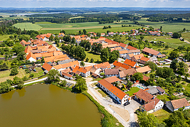 Aerial of the Unesco site historic village of Holasovice, Czech Republic