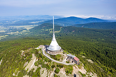 Aerial of the Jested TV tower/Hotel, Highest mountain peak Jested, Czech Republic