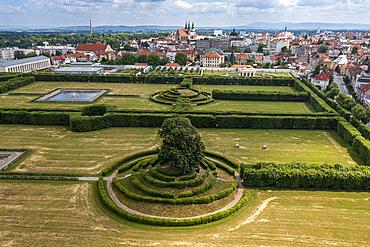 Aerial of the botanical gardens, Unesco site Gardens and Castle at Kromeriz, Czech Republic
