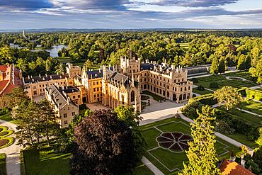 Aerial of Lednice palace, Unesco site, Lednice???Valtice Cultural Landscape, Czech Republic