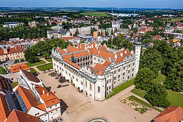 Aerial of the Unesco site Renaissance château in Litomysl, Czech Republic