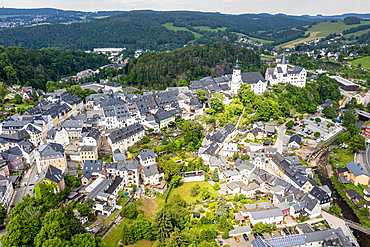 Aerial of St.-Georgen-Kirche and Palace, Unesco site Ore mountains, town of Schwarzenberg, Saxony, Germany