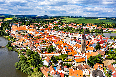 Aerial of the Unesco site historic center of Telc, Czech Republic