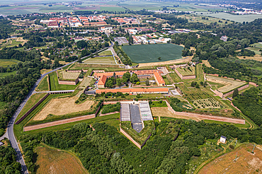 Aerial of the Fortress of Terezín, used by the Gestapo as a prison in World War 2, Czech Republic