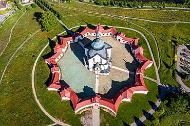 Aerial of the Unesco site Pilgrimage Church of Saint John of Nepomuk, Czech Republic