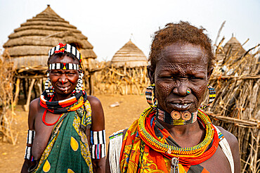 Scar face as a mark of beauty on woman from the Jiye tribe, Eastern Equatoria State, South Sudan, Africa