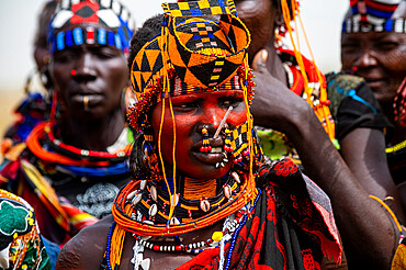 Traditional dressed woman of the Jiye tribe, Eastern Equatoria State, South Sudan