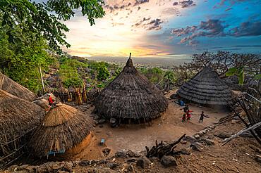 Otuho (Lotuko) tribe village in the Imatong mountains, Eastern Equatoria, South Sudan, Africa