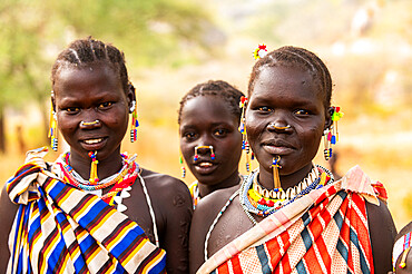 Traditional dressed young girls from the Laarim tribe, Boya Hills, Eastern Equatoria, South Sudan, Africa