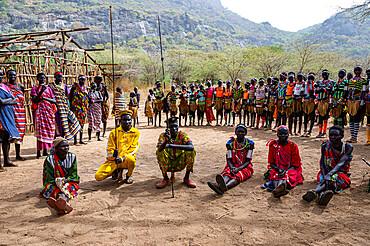 Assembly of a Laarim tribe, Boya Hills, Eastern Equatoria, South Sudan, Africa