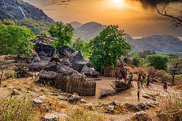 Traditional village huts of the Laarim tribe, Boya Hills, Eastern Equatoria, South Sudan, Africa