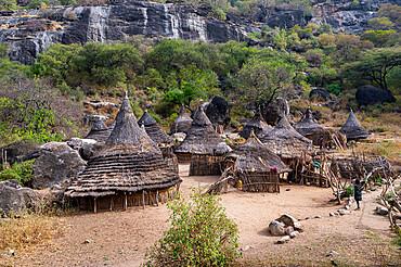 Traditional village huts of the Laarim tribe, Boya Hills, Eastern Equatoria, South Sudan