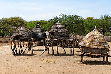 Traditional village huts of the Toposa tribe, Eastern Equatoria, South Sudan, Africa