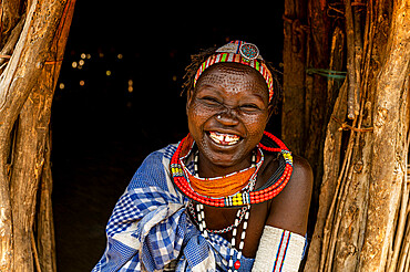 Woman with beauty scars from the Toposa tribe, Eastern Equatoria, South Sudan, Africa