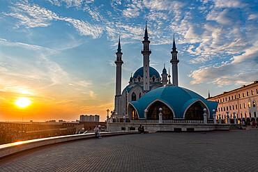 Sunset over the Kul Sharif Mosque, Unesco site, Kazan, Republic of Tartastan, Russia