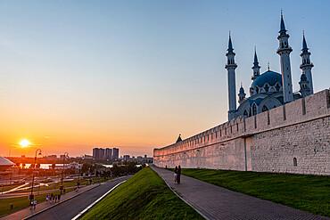 Kul Sharif Mosque in the Kremlin at sunset, Unesco site, Kazan, Republic of Tartastan, Russia
