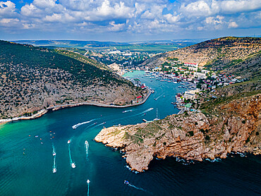 Aerial of the bay of Balaklava, Crimea, Russia
